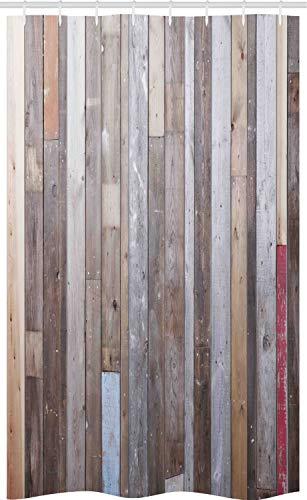 ABAKUHAUS Legno Rustico Tenda da Doccia Stalla, Effetto Retro Fotografia, Set per Il Bagno in Tessuto con Ganci, 120 cm x 180 cm, Brown e Multicolor