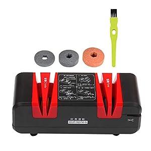 Kecheer Afilador de cuchillos eléctrico, multifunción, afilador automático de corte con bisel de 15 grados y ranuras finas, cortador de cocina con 3 discos de lijado intercambiables.