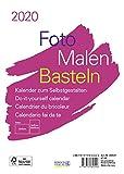 Foto-Malen-Basteln Bastelkalender A5 weiß 2020: Fotokalender zum Selbstgestalten. Aufstellbarer do-it-yourself Kalender mit festem Fotokarton.