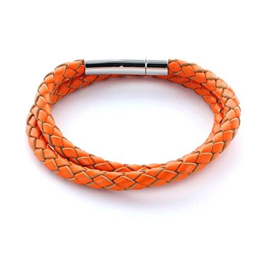 area17 Lederarmband orange, Hebeldruckverschluss - 2-Fach gewickelt - MIT WUNSCHGRAVUR - Maßanfertigung