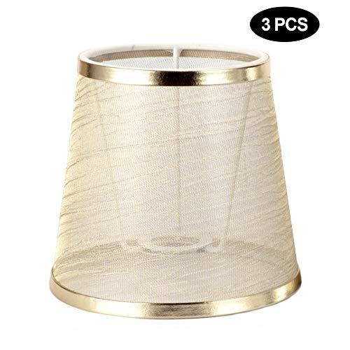 3er Set Stoff Lampenschirm E14 Modern Minimalist Clip On Light Shade für Upward Pointed Candle Chandelier Pendelleuchte, Wandleuchte (Gold)