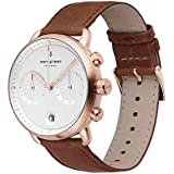 Nordgreen Pioneer Men's Chronograph Watch Scandinavian Rose Gold 42mm with White Dial and Brown Leather Strap 14030
