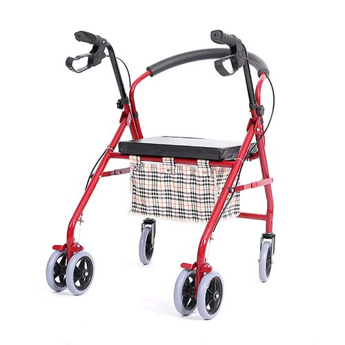 Old Man Trolley, Elderly Help Walker Four Wheel Can Sit Falten Leichtgewicht Rollstuhl