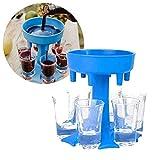 Dispensador de Chupitos - Soporte para Vasos de chupito - Juegos de beber (Incluye 6 Vasos) (Azul)