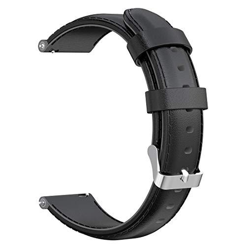 LOKEKE Ersatzarmband für Suunto D5 – 24 mm Armband aus echtem Leder für Suunto Spartan Sport Wrist HR Baro/Suunto D5/Suunto 9 (Leder schwarz)