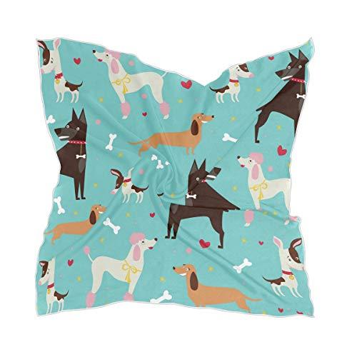 LUPINZ Damen Seidenschal mit süßem Hundemotiv, quadratisch, 60 x 60 cm, warmer Schal