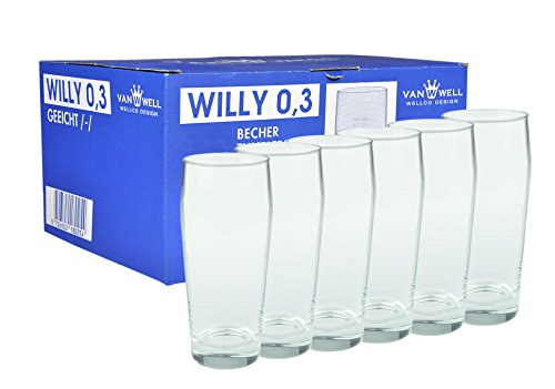 Van Well 6er Set Bierglas Willibecher 0,3L mit Eichstrich