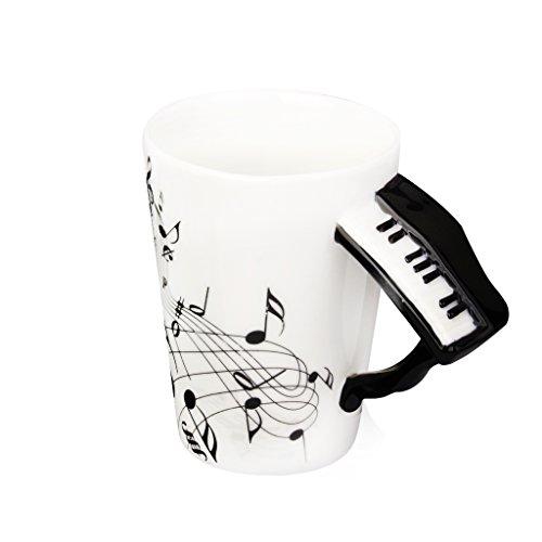 Hogar y Cocina Taza de Té con DIbujos de Notas de Música en Forma de Piano Porcelana Negro