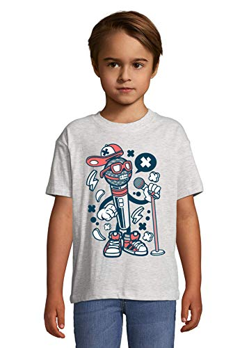 Cartoon Style Microfoon Rap Hip Hop Urban Kid's Crew Neck T-Shirt