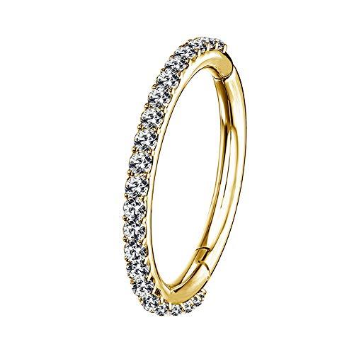 OUFER 16G Rostfreier Stahl Knorpel Ohrringe Fünf Petal Clear CZ Blume Tragus Helix Earrings Knorpel Ohrstecker Gold 12mm