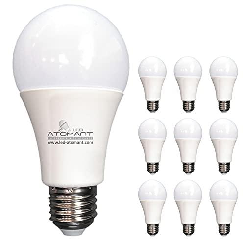 Pack 10x Bombilla LED A60 12w. Color Blanco Neutro (4500K). 1120 Lumenes. No regulable.