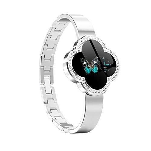 QXYOUNGB Smart-armband met kleurendisplay, hartslagmonitor, klavertje vier bladen, 2,4 cm (0,96 inch) display, duurzaam, smart-armband voor dames, stappenteller, stopwatch, zilver.