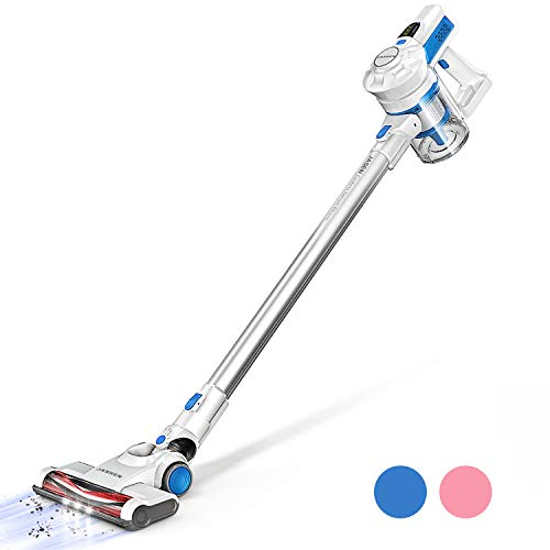 JASHEN Cordless Stick Vacuum, 10KPa Powerful Stick Vacuum Cleaner 2 in 1 Lightweight Handheld Vacuum with Rechargeable Lithium Battery LED Brush for Floor Carpet Pet Hair Car (Blue)