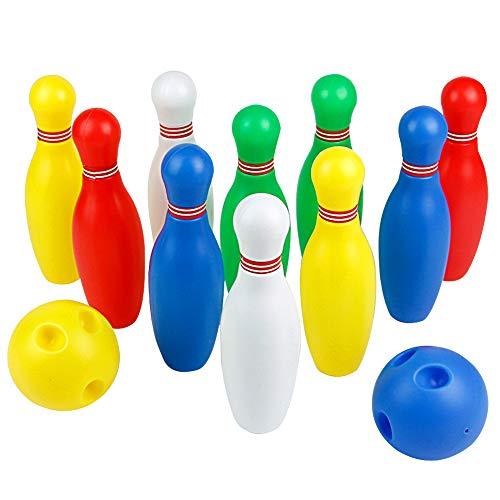 Juegos de Bolos Infantiles Huelgas Juego Sets de Bolos Bolera Juguete 10 Pins y 2 Bolas Juegos de Exterior y Interiores Aire Libre y Deportes Petanca para Niños de más de 3 Años