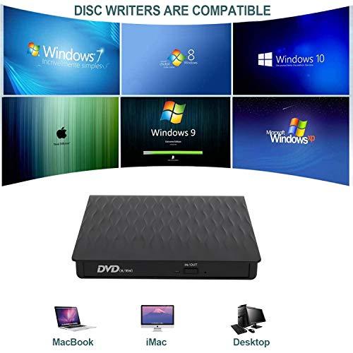 KENGDUDU External DVD Drive, USB 3.0 CD Burner CD/DVD +/-RW Optical Drive, Slim Portable DVD CD ROM Rewriter Writer Duplicator for Laptop Desktop PC Windows 10/8/7 MacBook Mac Linux OS Apple (Black)