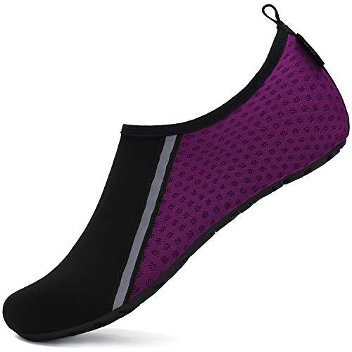 SAGUARO Scarpe da Scoglio Donna Uomo da Immersione Scarpette da Surf Water Shoes Barefoot per Bagno Spiaggia Mare Snorkel Yoga, Viola 38/39