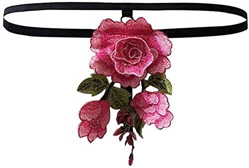 DSQK Conjuntos de Ropa de Dormir y Batas eróticos para Mujer Bragas Sexis Bordado de Flores Rosas Tanga de Cintura Baja Tangas Lencería de Mujer-como se Muestra_S