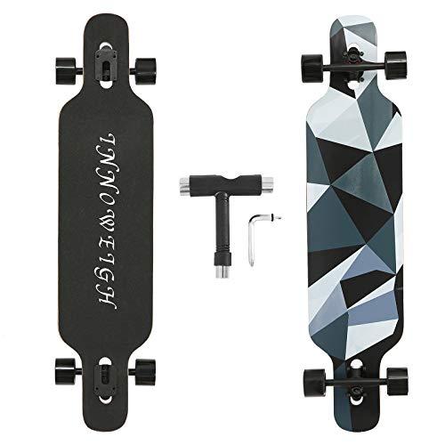 INNOWEIGH 41 Inch Longboard Skateboard Through Freestyle Longboard Complete Drop Down Through Deck Cruise Professional Beginners Longboard Black