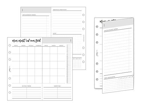 pen & pages® undatierte Monatsübersicht zum Ausklappen - Personal - 6 Löcher - Kalender Personal A6 Organizer, Foldout, Aufgaben, Ziele, ToDo, Habit Tracker, Gewohnheiten, 9,5 x 17,1 cm