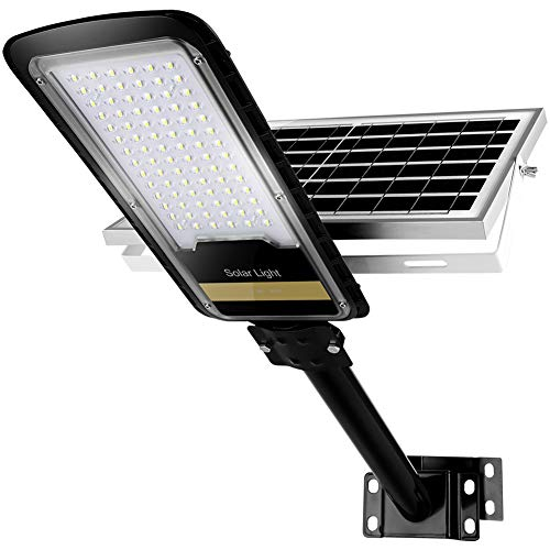 80W Solar Street Lights Outdoor Lamp, 84pcs HB-LEDs 1500lm IP67 Dusk to Dawn Security Led Flood Light with Remote Control Mounting Pole and Bracket for Garden, Street, Court, Parking Lot