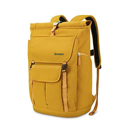 Gonex 35L Laptop Rucksack Laptoprucksack Notebook Wasserabweisende Schultasche mit Mehreren Taschen für Arbeit Business Schule Reisen Wandern Camping - Gelb