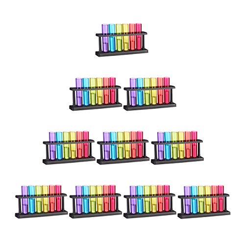 Relaxdays Set de 60 Vasos para chupitos con Forma de Tubo de ensayo, con Soporte, Plástico, 4 cl, Multi-Color