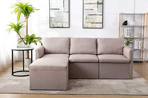 Pumpumly Sofa 3 Sitzer, Couch mit Bezug aus Leinenimitat, Beliebige Kombination von Sofa, Best Ecksofa,Polstermöbel für kleine Wohnungen, Gästezimmer, Jugendzimmer, mit Holzgestell