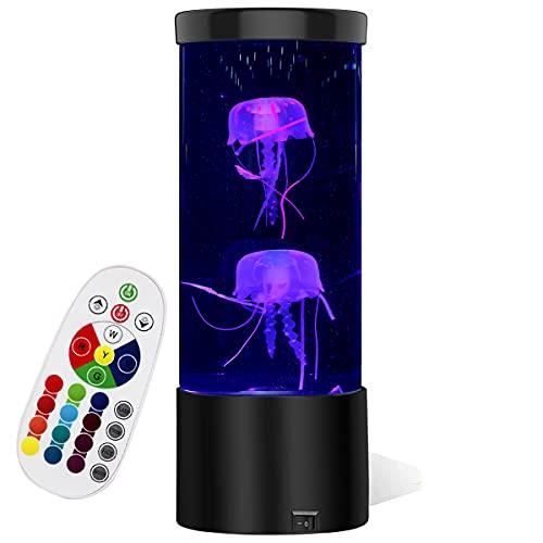 Lámpara de medusas Lámparas de lava, Lámpara de humor de acuario de medusas, Lámpara LED de escritorio con 16 ajustes de color para dormitorio de niños Regalo de cumpleaños de Navidad