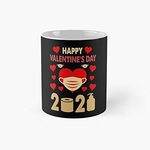 Funny Valentineâ€s Day Gift Dabbing Heart In A Mask Happy Valentines 2021 Valentines Day Classic Mug - 11 Oz.