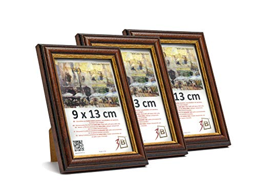 3-B Set 3 STK. - Bilderrahmen BARI RUSTIKAL - dunkel braun - 9x13 cm - Holzrahmen, Fotorahmen, Portraitrahmen mit Plexiglas