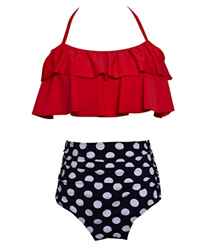 Kid Girls Swimsuit Striped Two Piece Bathing Suit Funny Floral Print Swimwear for 4Y-12 116 Red Polka Dot