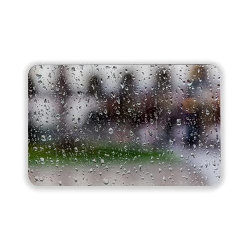 Tapete para Piso, tapetes de Bienvenida de Caucho Natural Duradero ,Drops of Rain on a Window Pane Blur Buildings in Background,Alfombra para Interiores y Exteriores 15 by 24 Inches