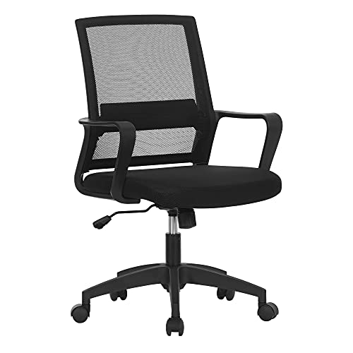 SONGMICS Bürostuhl, Schreibtischstuhl, drehbar, höhenverstellbarer Computerstuhl mit Netzbespannung, Wippfunktion, für Büro, Arbeitszimmer, schwarz OBN031B01