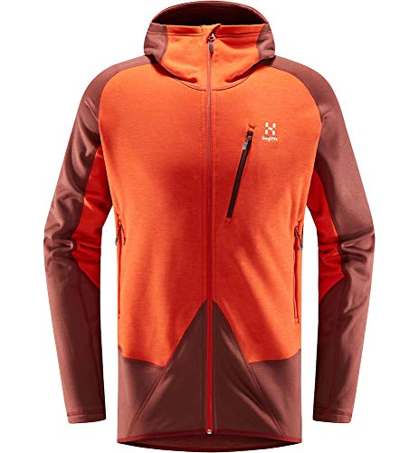 Haglöfs Spire Mid Hood Polaire pour homme M Rouge (maroon red/habanero)