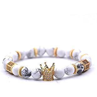 USUASI 1Pc Charm Women&Men Crown Beaded Bracelet Handmade Bead Lava Stone Silver Skull Head 8mm (White)