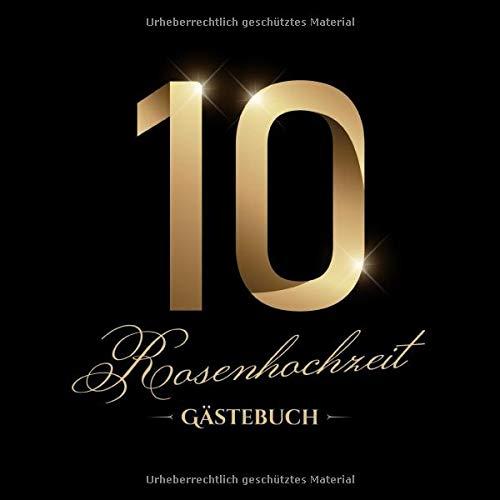 Rosenhochzeit ~ Gästebuch: Deko zur Feier der Rosen Hochzeit - 10. Hochzeitstag - 10 Jahre -...
