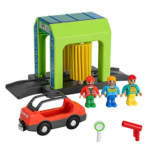 Tavot Plastic Simulation Toy Set Urban Scene Car Wash Room P-olice Station Safe Children's Toy Set Compatible with Wooden Track