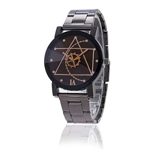 HehiFRlark - Reloj de pulsera para parejas de acero inoxidable de moda para hombre, reloj de pulsera analógico de cuarzo