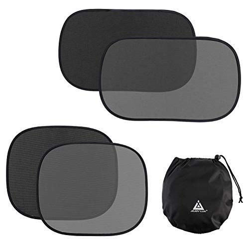 "JOJOY LUX 4 Pack Car SunShades for Baby, Auto Sun Shiled Blocking UV Ray,80 GSM for Maximum UV/Sun/Glare Protection,2 Pack 20""x12"" and 2 Pack 17.5""x14""- Side Window Sun Shades, Black/Transparent"
