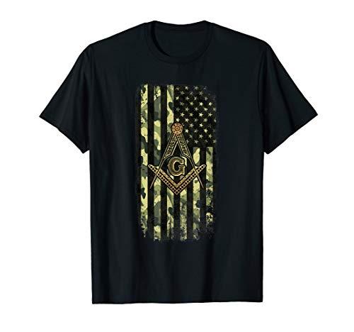 Mens Masonic Camo American Flag - Freemason T-Shirt T-Shirt
