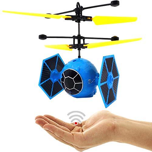 Space Warrier (Blau) Kinder Drohne Quadrocopter Hubschrauber Raumschiff RC UFO Helicopter Drohne mit Hellen LED Lichtern Einfach zu Steuern mit per Hand Sensorsteuerung Drohne für Kinder