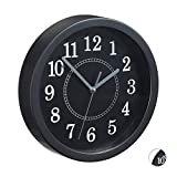 Relaxdays, Schwarz Wanduhr rund, Ø 20cm, Kleine Uhr zum Aufhängen, Klassisches Design, batteriebetrieben, Sekundenzeiger