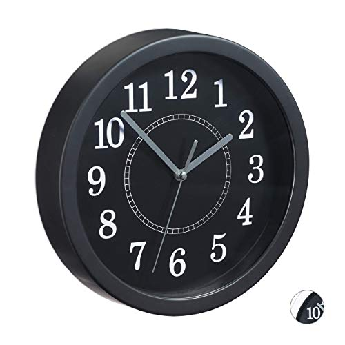 Relaxdays, zwarte wandklok rond, Ø 20 cm, kleine klok om op te hangen, klassiek design, werkt op batterijen, secondewijzer