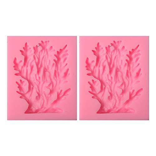 Ruikey cazoletas 2pcs Molde de Silicona Fondant pequeño árbol de Coral para decoración de Tartas, 7,2cm * 5,8cm