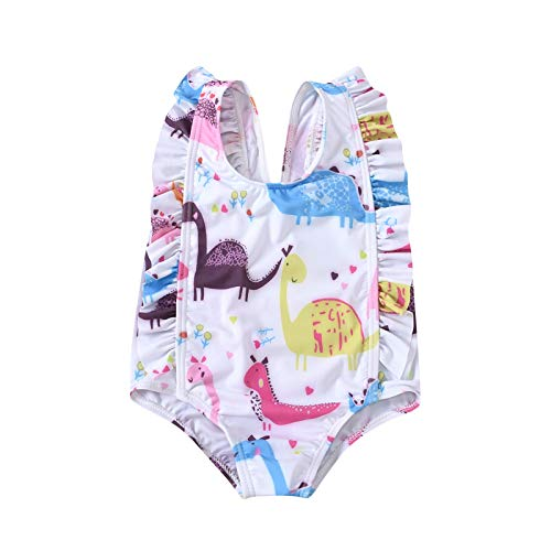 upxiang Costume da Bagno Bambina Ragazzine Costume Intero Bagnarsi Beachwear Stampata di Animale Cartoon Senza Manica Spiaggia Mare Piscina Costume Estivo Bambina 0-4 Anni