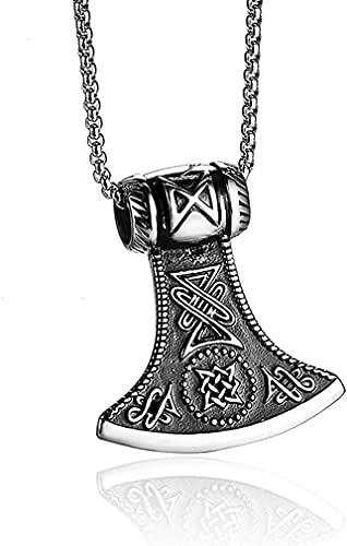 AMO Collar Vikingo 316L de Acero Inoxidable Nórdico Odin Axe Nudo Celta Thor 's Martillo Colgante Collar para Hombres Collar Amuleto, sin Cajas de Regalo Y Bolsas