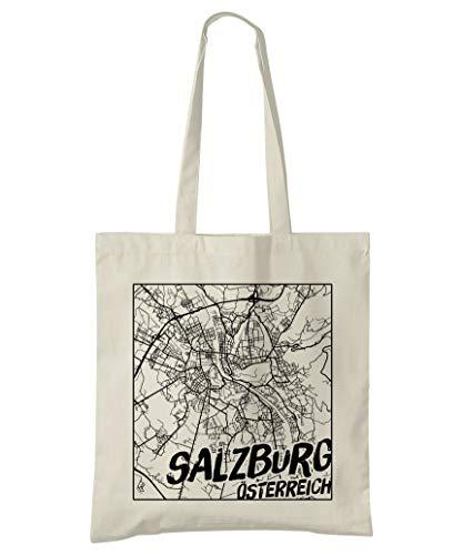 Super Cool Totes Salzburg, Österreich, Stadtplan Einkaufstasche (Design 3)