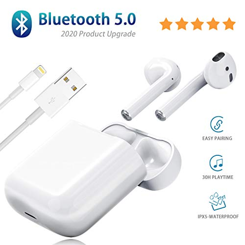 Wireless Earbuds, Bluetooth 5.0 Wireless Earbuds,with [ 25Hrs Charging Case ] IPX5 Waterproof,3D Stereo in-Ear Ear Buds Built-in Mic,Pop-ups Auto Pairing for Earphone Apple Airpods Sport Earbuds
