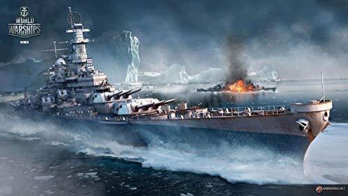 UIUY Regalo de Bricolaje Pintura Digital para Adultos para niños, Juego World War II Battleship Iceberg Kit de decoración del hogar ,Regalo de año Nuevo Pintura al óleo sobre Lienzo Sin Marco
