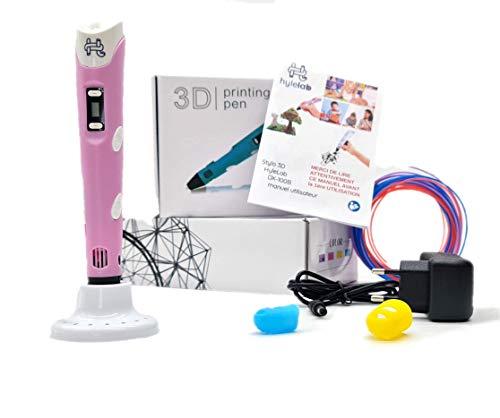 HyleLab 3D-Stift, Rosa, Geschenkidee für Jugendliche, Kinder, kreative Freizeit in der Familie, Effizienz 3D, professionelle Wirkung, Geschwindigkeit und Temperatur einstellbar, für PLA/ABS 1,75